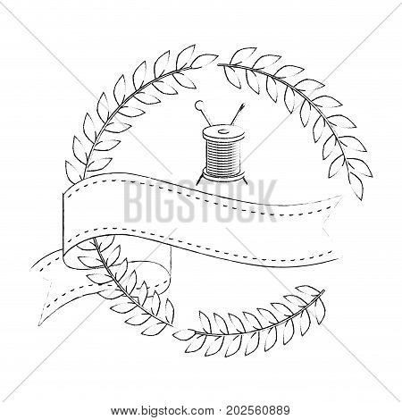 wreath of leaves with thread of spool icon over white background vector illustration