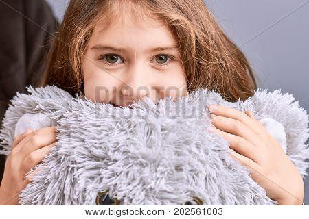 Portrait of little girl with teddy bear. Beautiful little girl hugging grey teddy bear. Portrait of cute smiling little girl with plush teddy bear.