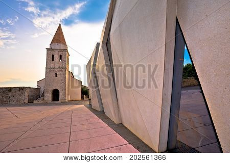 Town Of Krk Historic Square Church And Modern Architecture View
