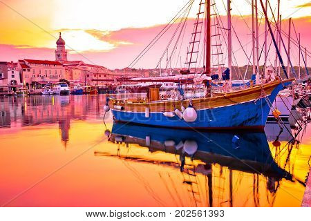 Historic Island Town Of Krk Golden Dawn Waterfront View
