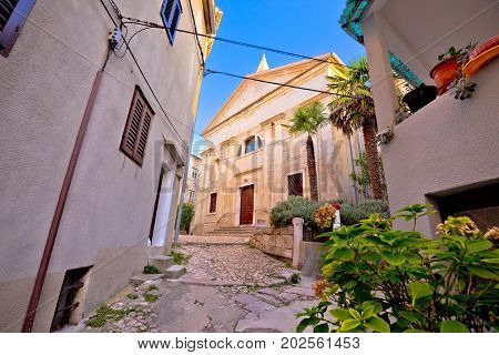 Old Adriatic Town Vrbnik Stone Street And Church View