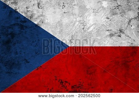 Flag of the Czech Republic against the background of the stone texture