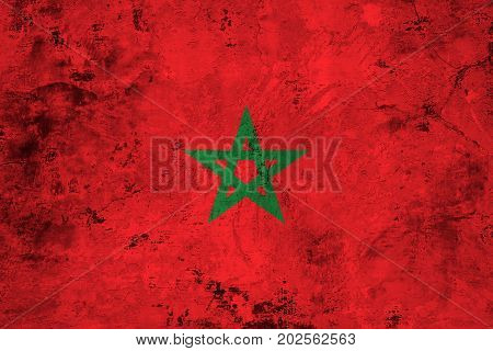 Flag of the Morocco against the background of the stone texture