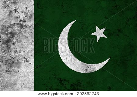 Flag of the Pakistan against the background of the stone texture