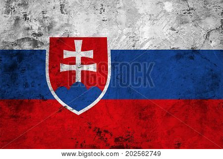 Flag of the Slovakia against the background of the stone texture