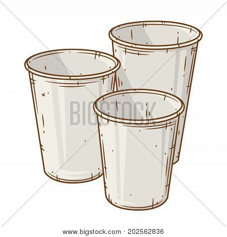 Set of paper coffee cup over white background. Cartoon coffee cup