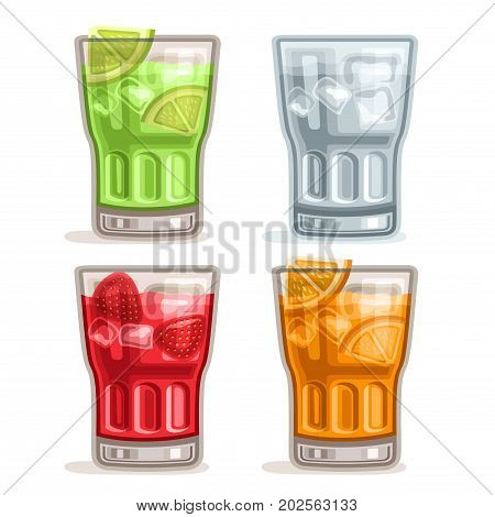 Vector set colorful Drinks: 4 glasses with green alcohol cocktail mojito, clear tonic water with ice cubes, red mocktail strawberry daiquiri, fresh orange juice with fruit slices on white for bar menu