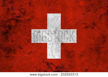 Flag of the Switzerland against the background of the stone texture