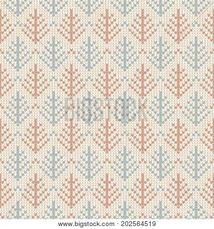 Winter Christmas tree x-mas knit seamless background. Knitted fur-tree pattern. Winter knitting. Flat style design.