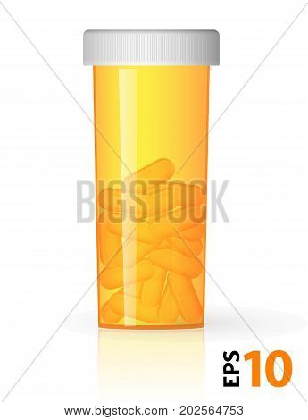 Prescription Medicine Bottles Empty And With Drugs, Yellow Plastic.