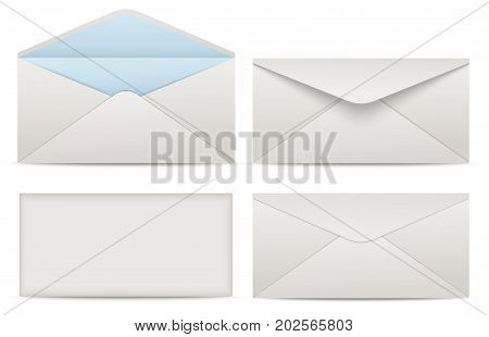 Blank paper envelopes for your design. Vector envelopes template. Blank realistic closed envelope front and back view mockup