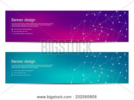 Technological and scientific banners with structure of molecular particles and atom. Polygonal abstract background. Vector illustration