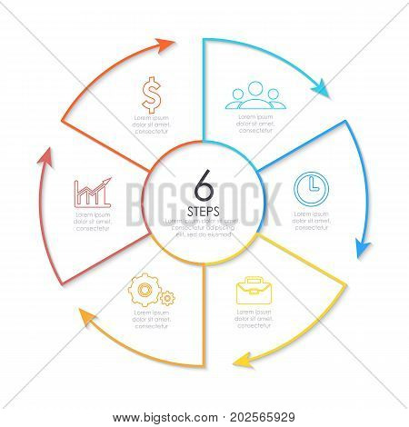 Outline round infographic element. Circle template 6 steps with arrows.