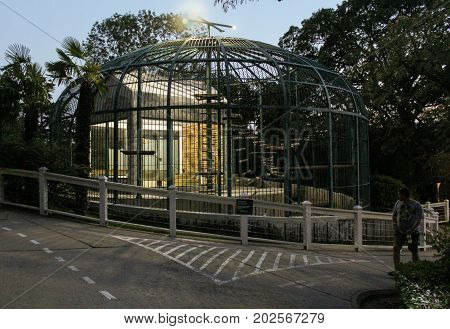 Yalta, Crimea - 11 July, A large cage for monkeys, 11 July, 2017. Zoo and animals on the territory of the hotel Yalta Intourist.