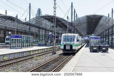 HELSINKI FINLAND - AUGUST 05 2017: Trains in railway station in Helsinki Finland on August 05 2017