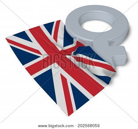 female symbol and flag of the United Kingdom of Great Britain and Northern Ireland -3d rendering