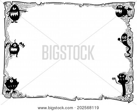Halloween Frame Old Scroll Sheet With Monsters