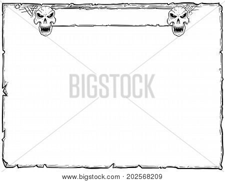 Halloween Frame Old Scroll Sheet With Skulls
