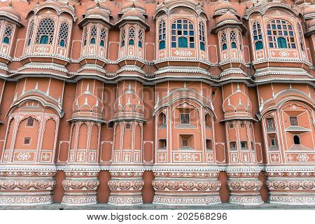 JAIPUR RAJASTHAN INDIA - MARCH 10 2016: Front picture of Hawa Mahal in Jaipur known as pink city of Rajasthan in India.