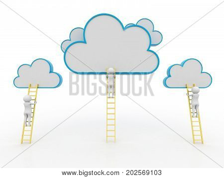 Rear view of businessman standing on ladder and reaching cloud. A competition concept, clouds with ladders on blue. 3d render