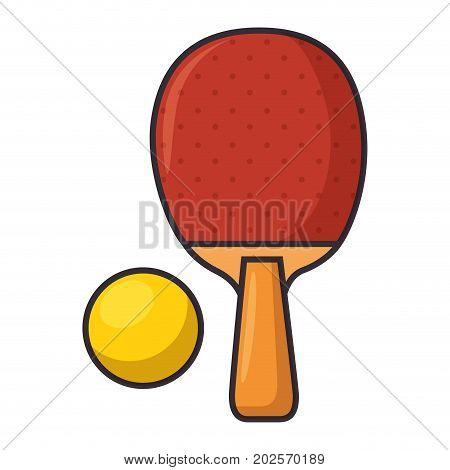 ping pong racket and ball sport icon vector illustration design