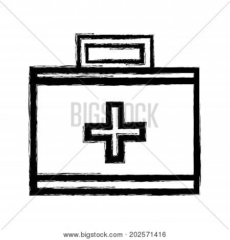 figure suitcase with medical first aid kit vector illustration