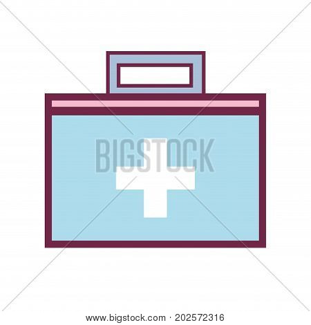 suitcase with medical first aid kit vector illustration