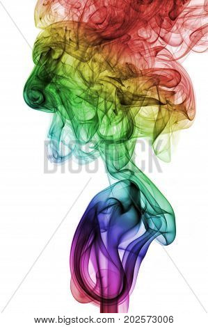 Abstract Colorful Rainbow Smoke isolated on white background