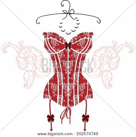 Lady's sexy red vintage corset on white background