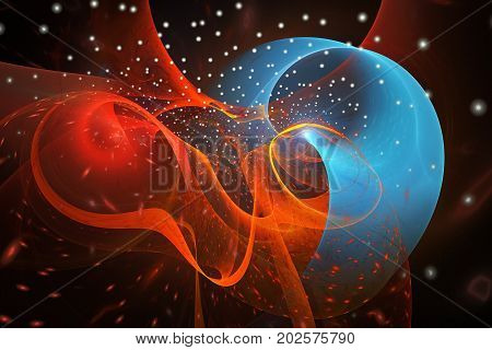 Abstract Colorful Smoky Shapes And Sparks On Black Background. Fantasy Blue And Orange Swirly Fracta