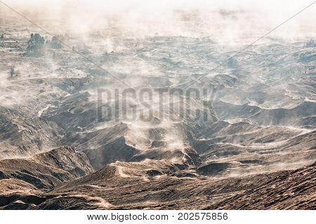 Layer Volcanic ash as sand ground of Mount Bromo volcano located in Bromo Tengger Semeru National Park, East Java, Indonesia.