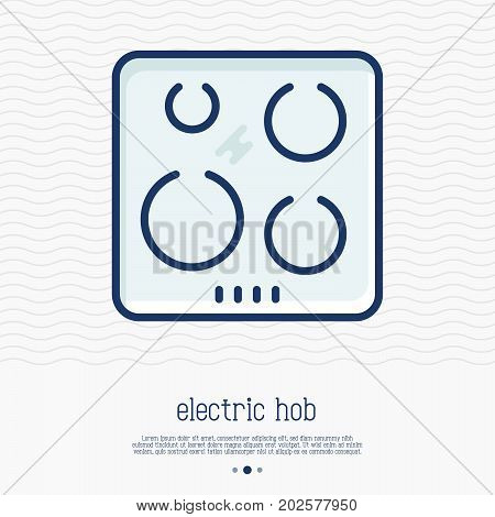 Electric hob thin line icon. Simple vector illustration of home appliance.