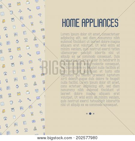 Home appliances concept with thin line icons: refrigerator, coffee machine, microwave, fryer and place for text. Household vector illustration for banner, web page, print media.