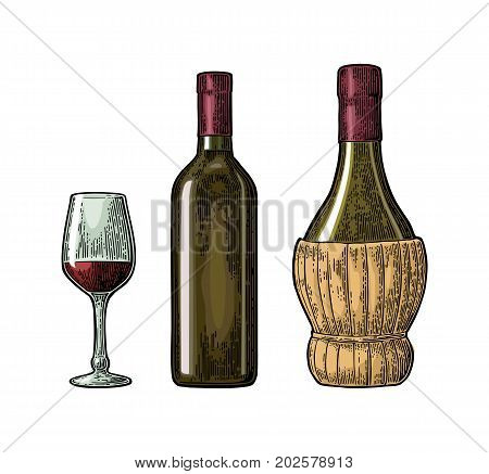 Wine glass, classic and braided bottle. Vintage color engraving vector illustration isolated on white background. For label poster, web.