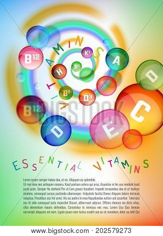 Vitamin complex. Different vitamins in pills flying in a swirl. Vector illustration in bright rainbow colours. Medical and pharmaceutical image. Beautiful template with copyspace.
