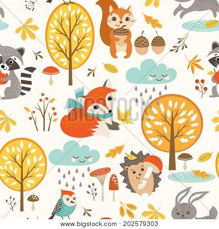 Autumn seamless pattern with cute woodland animals trees rainy clouds mushrooms and leaves.