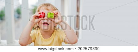 Banner The Boy Makes Eyes Of Colorful Children's Blocks. Cute Little Kid Boy With Glasses Playing Wi
