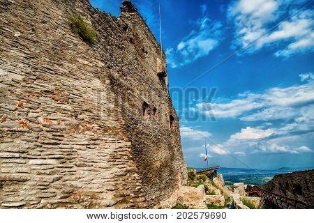 Old citadel rocks walls , Deva, Romania