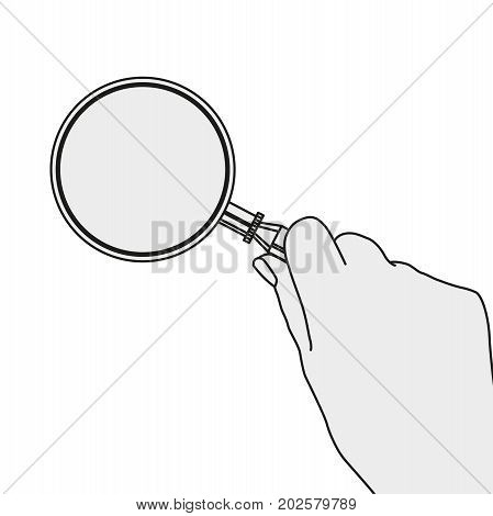 Hand with the magnifier.  Searching, detecting and analyzing concept. Vector illustration useful for search sign and icon in grey and black colours isolated on a white background.