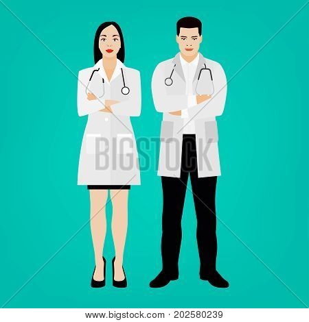 Two young doctors in medical goans, man and woman, standing with stethoscopes. Beautiful avatar characters. Vector illustration isoated on a light green background.