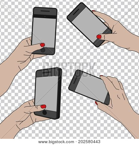 Woman hand holding a cell phone shooting a picture. Photo-sharing on smartphone collection. Vector illustration isolated on a transparent background.