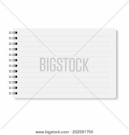 Vector realistic closed spiral bound notebook. Horizontal blank copybook with metallic silver spiral. Template (mock up) of organizer or diary isolated. Horizontal lined notepad. A5