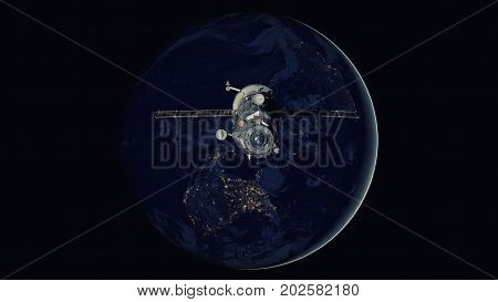 Spacecraft Progress Orbiting The Earth.