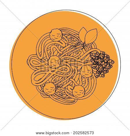 Delicious spaghetti food icon vector illustration graphic design
