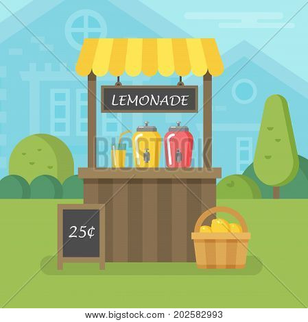 Lemonade stand with basket of lemons flat illustration