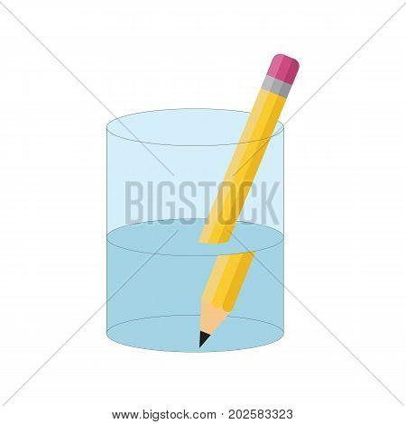 Bending pencil experiment. Refraction of light. Vector illustration flat design