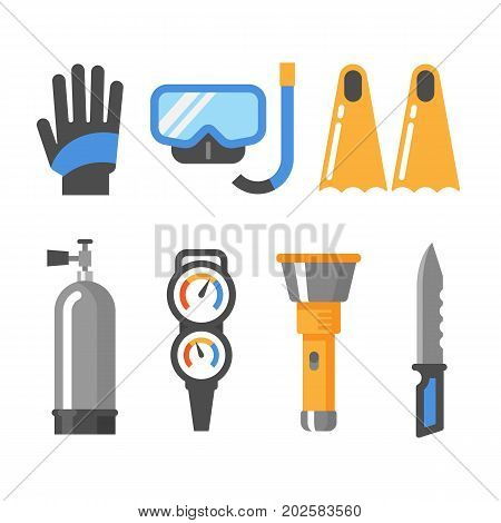 Scuba diving gear flat icon set. Gloves mask snorkel fins air tank pressure gauge flashlight knife.