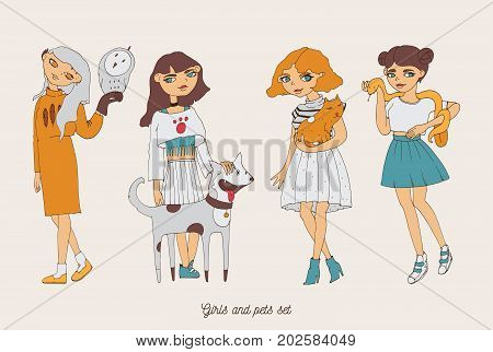 Hand drawn girls characters with cute pets as dog cat snake and owl. Home lovely pets with loving owners. Pets and owners are similar to each other