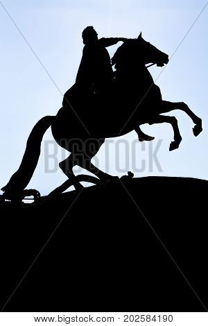 Real Photo Of Shade Silhouette Bronze Horseman Monument.
