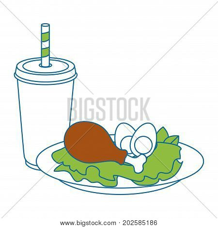 chicken drumsticks plate icon vector illustration graphic design